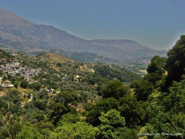 A view over a hillside village in Crete.