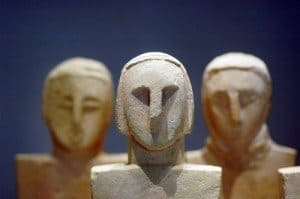 Neolithic figurines in the Gozo Museum of Archaeology.