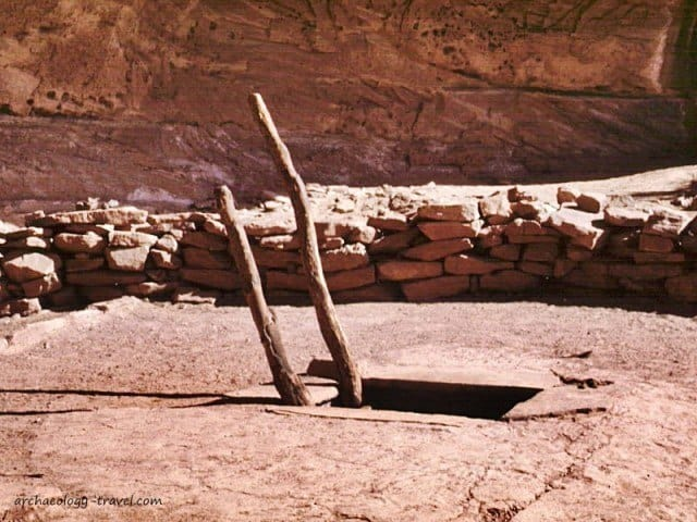The roof and entrance to the kiva.
