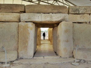 Entrances to the Hagar Qim Megalithic Temples, Malta.