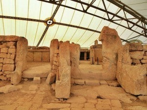 Entry to one of the Megalithic Temples of Mnajdra in Malta.