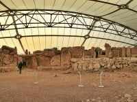 Megalthic temples of Mnajdra under the protective roofing.