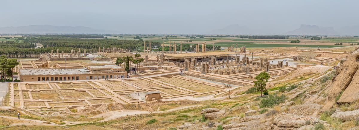 A panoramic view of the archaeological site of Persepolis in Iran today.