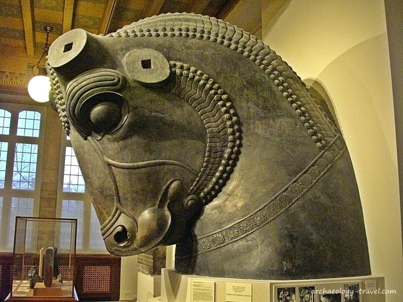 The highly polished stone bull head from the Throne Hall in Persepolis.