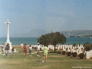 The view out over the Second World War Cemetery to Suda Bay, Crete.