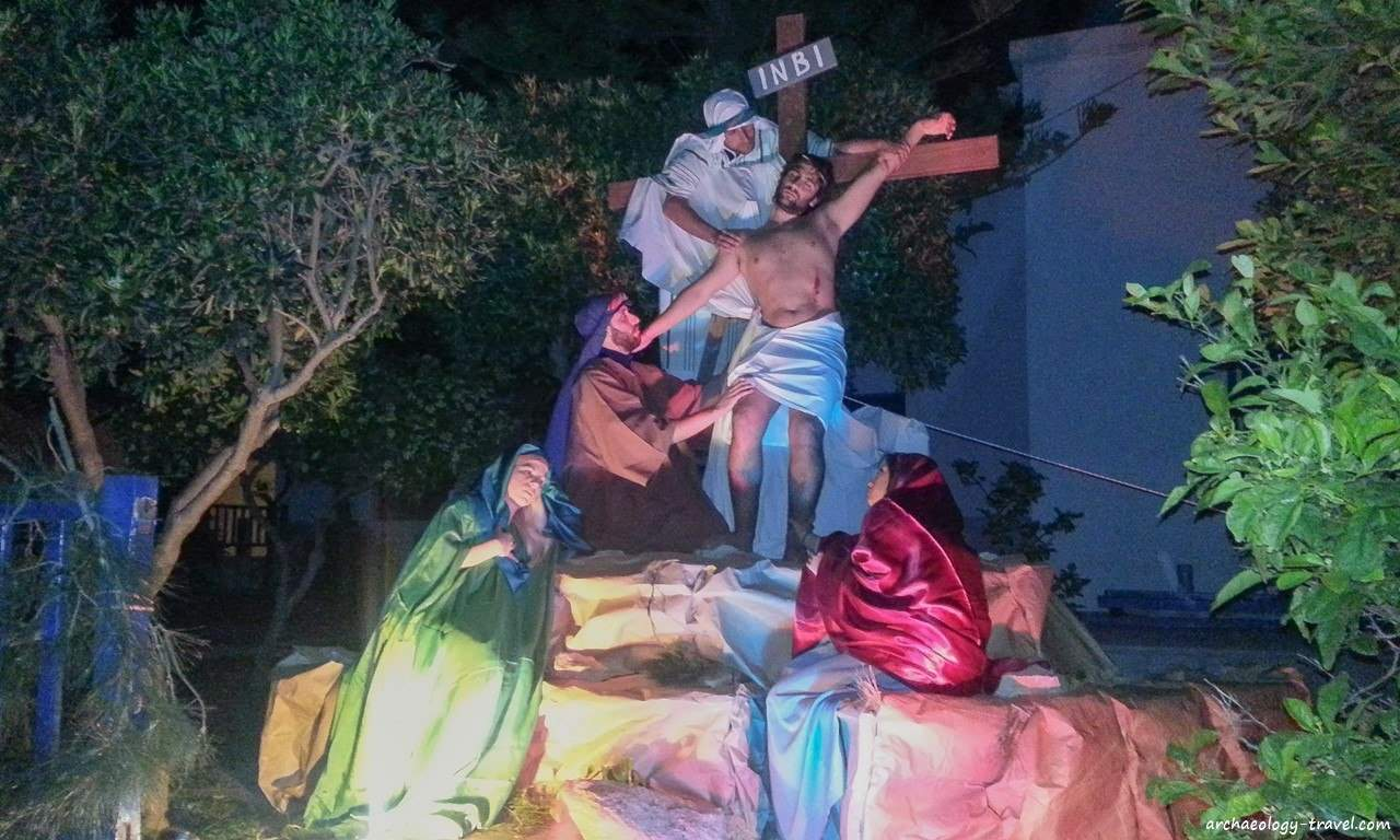 An image of the descent of Christ from the cross - Marpissa, Paros.