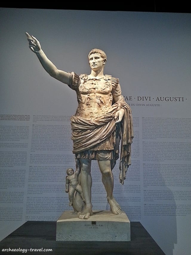 The iconic Augustus of Prima Porta, as on display in the Grand Palais in Paris, 2014.