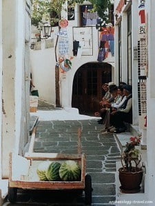 Escaping the midday heat in the cool and narrow streets of an island village.