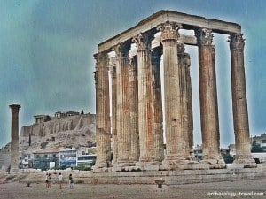 The temple of Olympian Zeus in the foreground and the Athens Acropolis in the background.