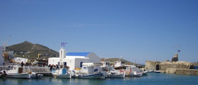 A Venetian fort i the port of the fihing village of Naoussa, Paros.