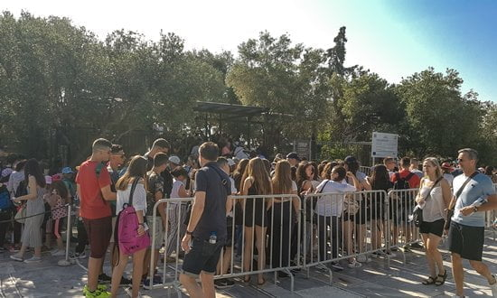 Queues for the entrance to the Acropolis first ting in the morning, early summer.