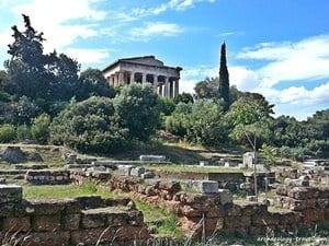 Looking across the Ancient Agora to the temple of Hephaistos.