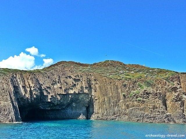Columnar basalt on the island of Milos.