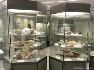 Geological displays in the Mining Museum, Milos.