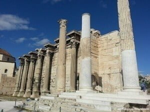 The Pentelic marble façade of Hadrian's Library.
