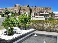 The view of the Acropolis from the rooftop terrace at the Herodion Hotel, Athens.