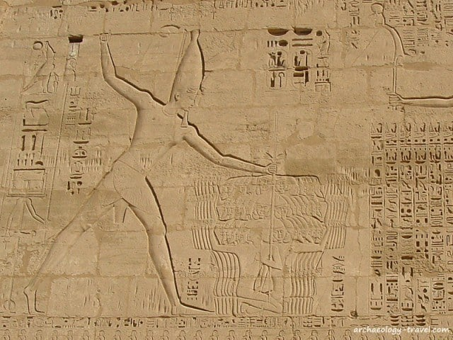 Ramses III smiting his enemies, inscribed on the first pylon of Medinet Habu, Luxor.