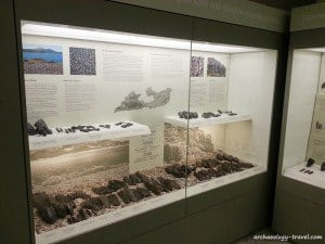 A display of obsidian artefacts in the Mining Museum, Milos.