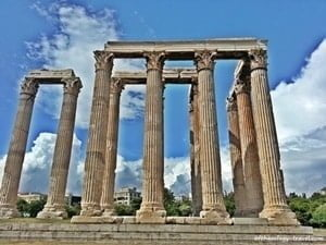 The colossal columns of the temple of Olympieion Zeus, Athens.