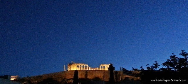 View of the Parthenon on the Acropolis at dawn.