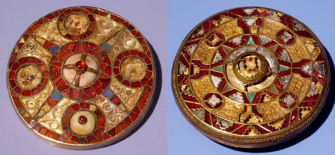 Beautifully decorated Anglo-saxon disc brooches from sites in Kent at the Ashmolean Museum.