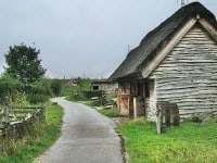 A reconstructed Anglo-Saxon farm in Bede's World, Jarrow.