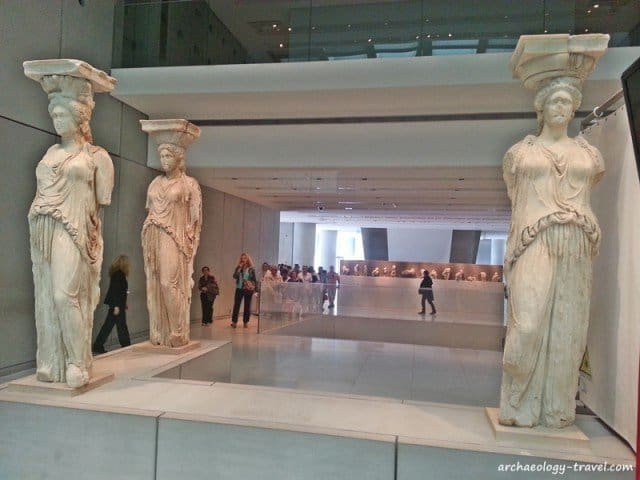The original caryatids from the erechtheion on the Acropolis are in the Acropolis Museum, Athens.