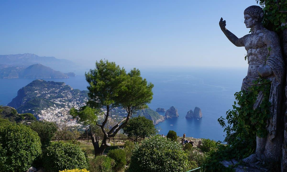 A view from the gardens in Anacapri over the rest of Capri island.