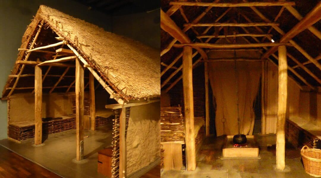 Reconstruction of a typical Anglo-Saxon house in the Museum of London.