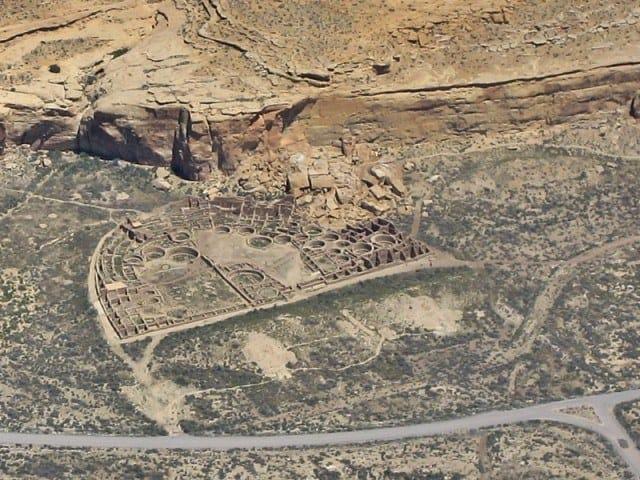 A bird's eye view of Pueblo Bonito,  Chaco Canyon in New Mexico.