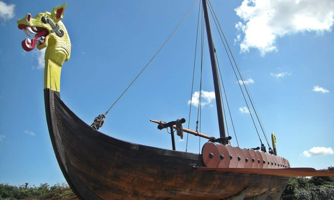 The reconstructed Viking longship 'Hugin' in Ramsgate.