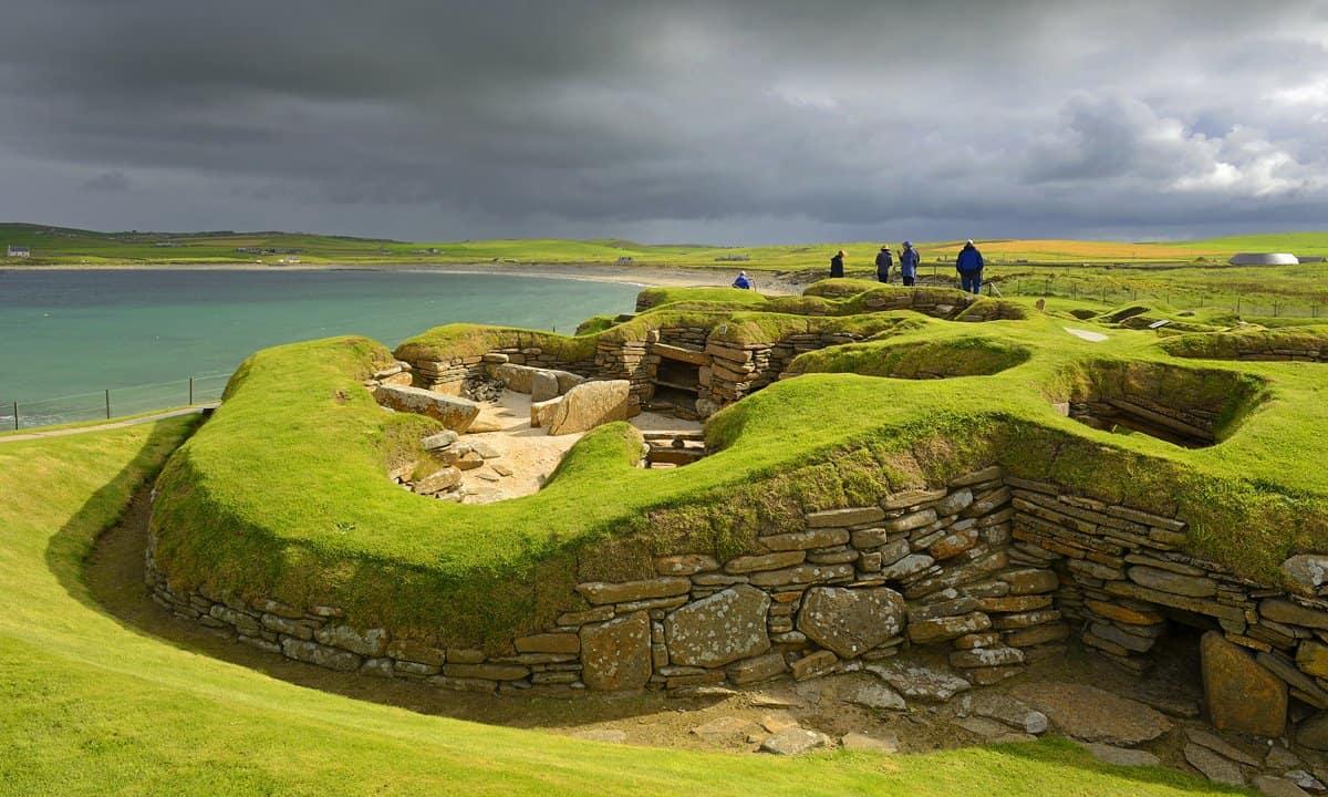The stone built Neolithic settlement of Skara Brae on Orkney's Mainland sialnd.