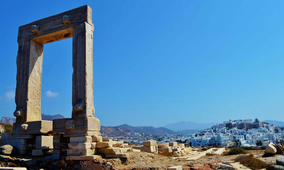 Remains of the Temple of Apollo near the harbour of Naxos.