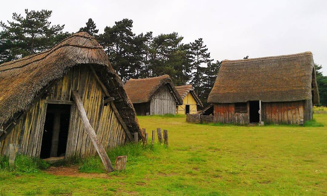 Part of the reconstructed West Stow Anglo-Saxon village in Suffolk, England.
