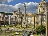 Looking across the Forum of Trajan to Trajan's Column in Rome.