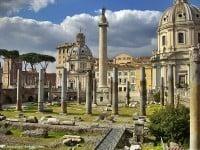 Looking across the Forum of Trajan to Trajan's Column in Rome.