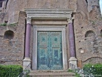 The bronze doors to the Temple of Divus Romulus, on the Via Sacra in central Rome.