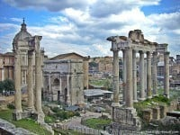 A view over the Roman Forum in Rome from the Capitoline Hill.