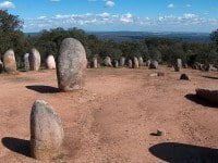The megalithic complex of Almendres Cromlech in Portugal.