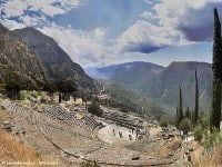 A spectacular view from the theatre at Delphi © Leonidtsvetkov - Wikipedia