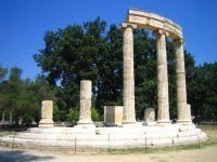 The ruins of the Philippeion in ancient Olympia, Greece.