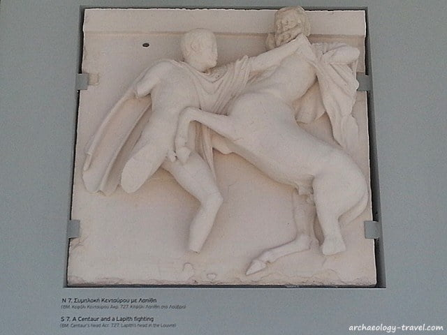 Parthenon sculpture metope S7 has pieces in the Louvre, British Museum and the Acropolis Museum.