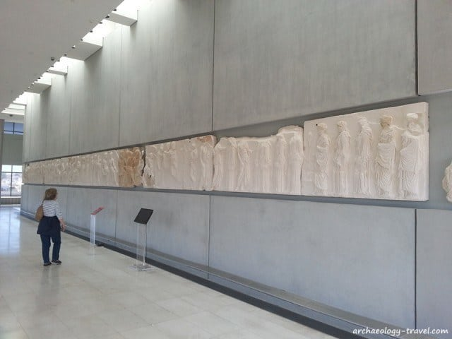 The Parthenon frieze, originals and reproductions, in the Acropolis Museum, Athens.