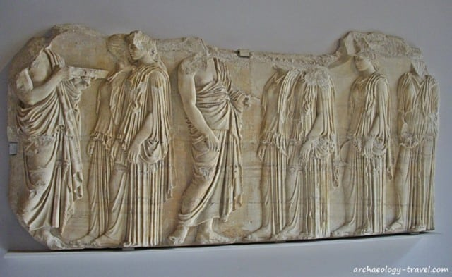 The portion of the Parthenon frieze now in the Louvre Museum, Paris.