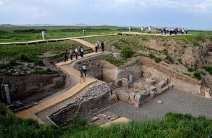 Visiting the archaeological site of Xanadu, China.