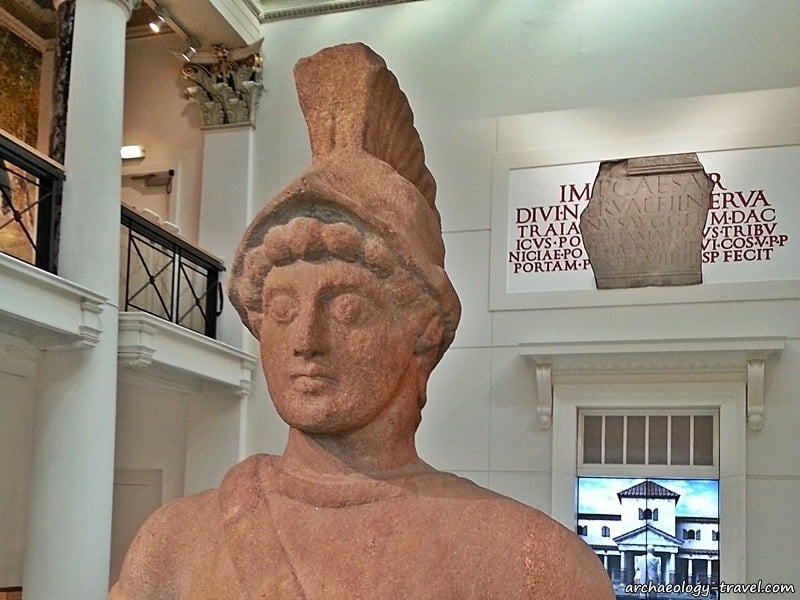 The head of Mars, a statue of the Roman god of war in the Yorkshire Museum, York - England.