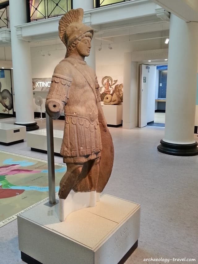 The near-complete statue of Mars, the Roman god of war on display in the Yorkshire Museum, York - England.