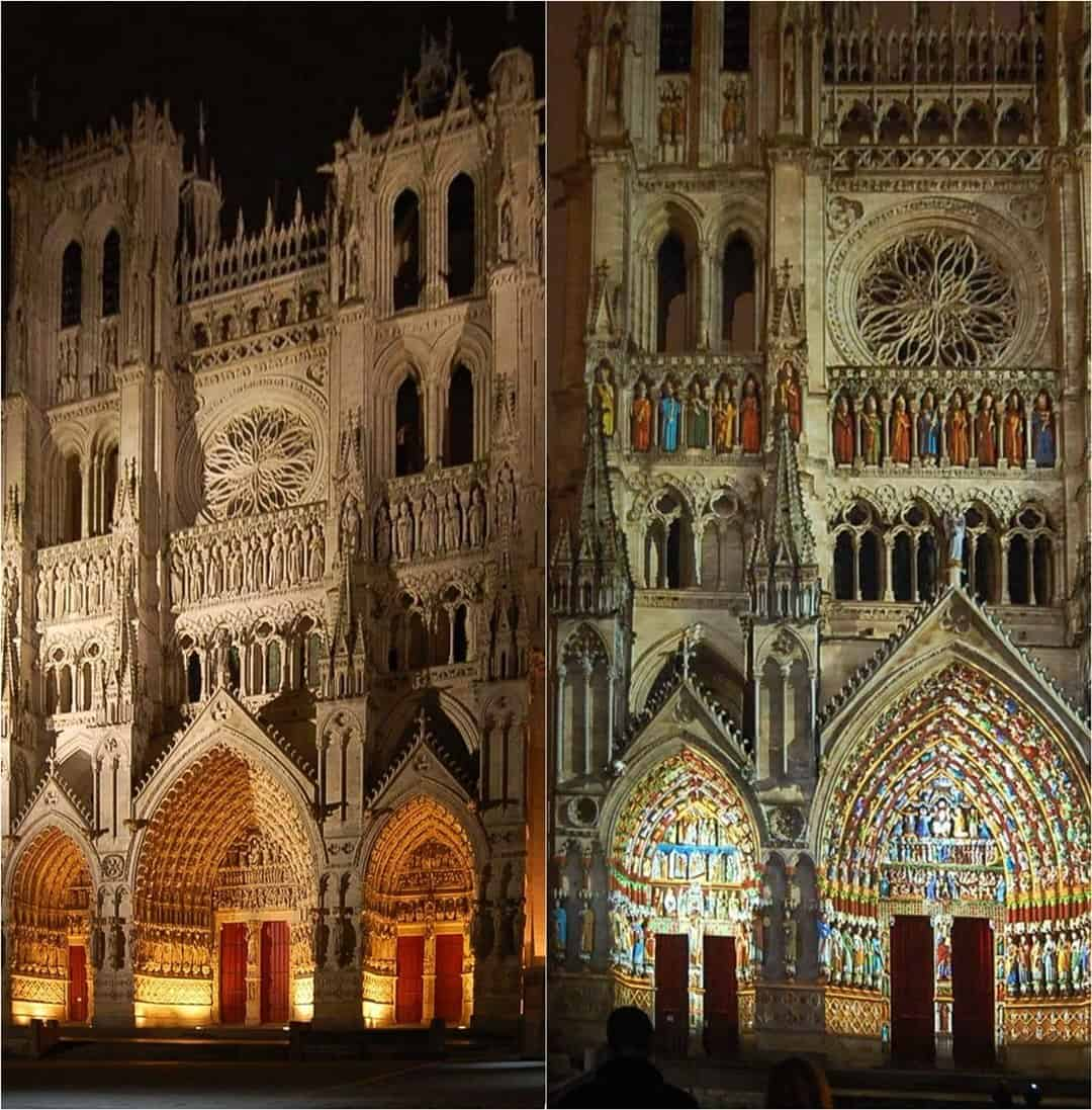 The western façade of Amiens Cathedral at night, just before the light show (left) and during (right).