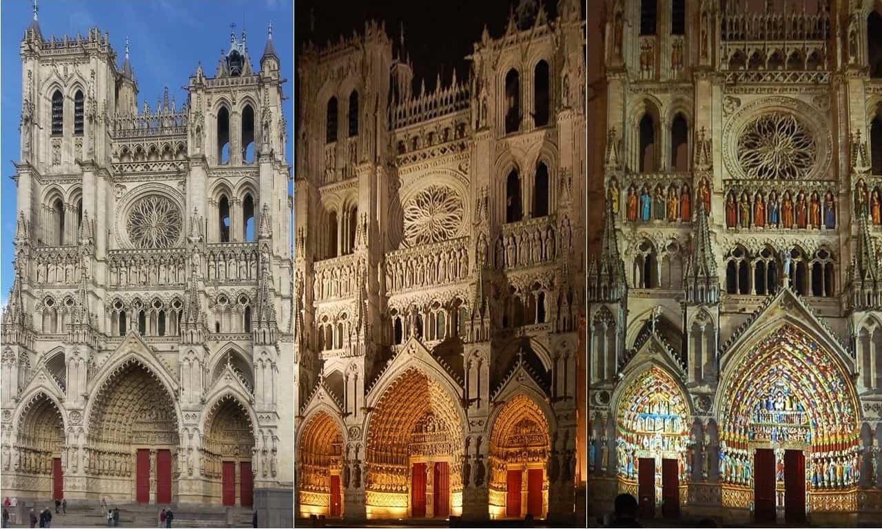 The Western Facade Of Amiens Cathedral By Day And Night
