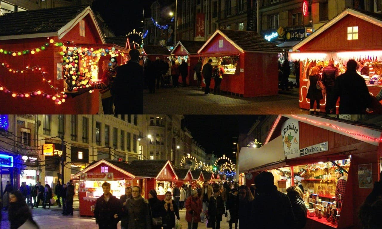 The main street in Amiens lined with festive huts for the Marche de Noel, throughout December.